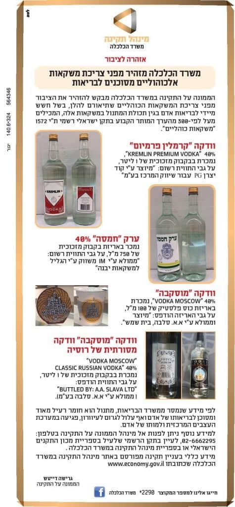 פרסום משרד הכלכלה על מוצרי אלכוהול רעילים
