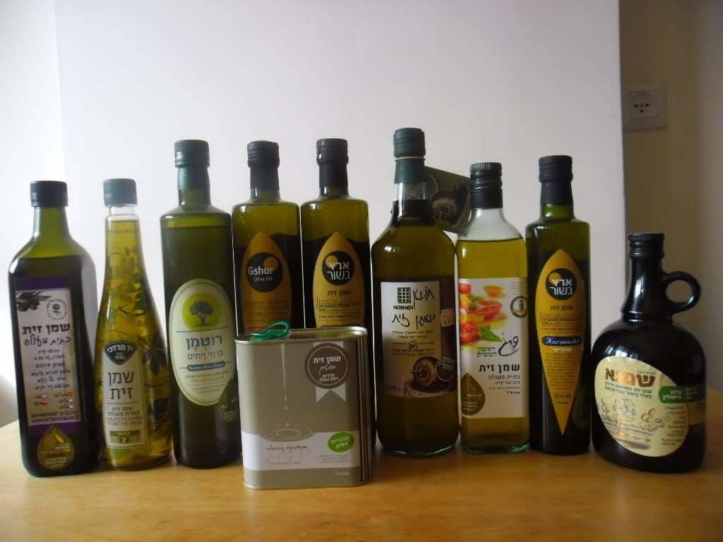 מגוון מותגי שמן זית ישראלי איכותי (צילום דני בר)