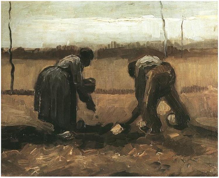 זוג איכרים שותלים תפוחי אדמה של ואן גוך