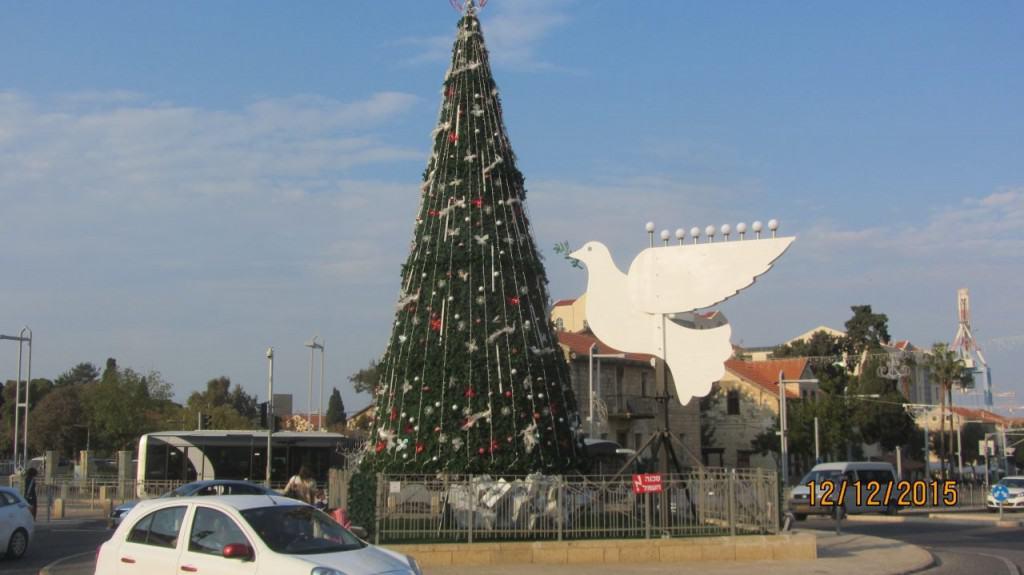 חנוכיה ואשוח החג של החגים חיפה 2015 (צילום שרה אוסצקי-לזר)