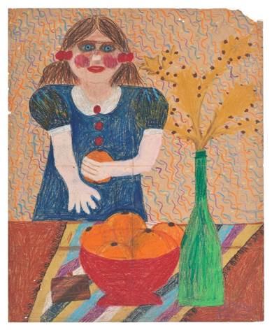 מאירה שמש, ללא כותרת, 1973 (בת 11) , גירים על נייר
